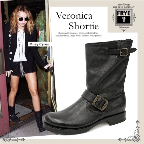 89382d2ade1 Frye Veronica Short Boots Black Leather Size 8